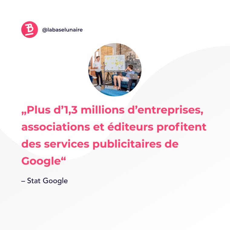 Plus d'1,3 millions d'entreprises, associations et éditeurs profitent des services publicitaire de Google
