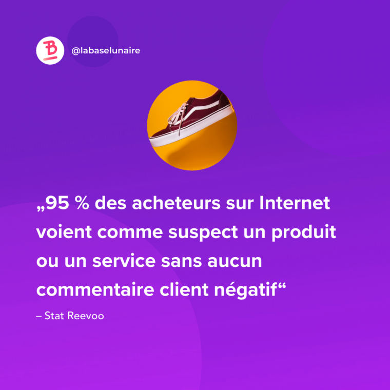 95 % des acheteurs sur Internet voient comme suspect un produit ou un service sans aucun commentaire client négatif