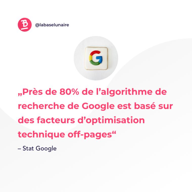 Près de 80% de l'algorithme de recherche de Google est basé sur des facteurs d'optimisation technique off-pages