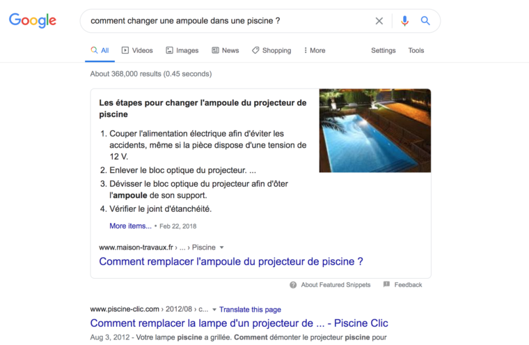 """Résultats de recherche Google pour la requête """"Comment changer une ampoule dans une piscine ?"""""""