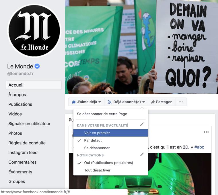 """Capture d'écran partielle de l'outil pour """"apparaître en premier"""" dans le fil d'acutalité Facebook sur la page Facebook du monde"""