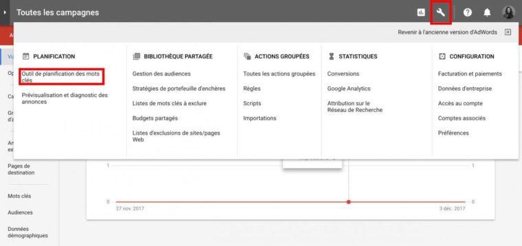 Outil de planification de mots-clés sur Google Adwords
