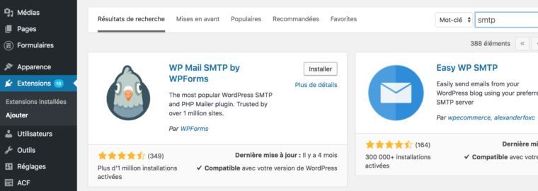 Ajouter l'extension wp mail smtp dans le back office wordpress