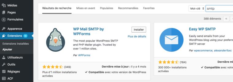 Ajouter l'extension wp mail smtp dans le back office wordpress
