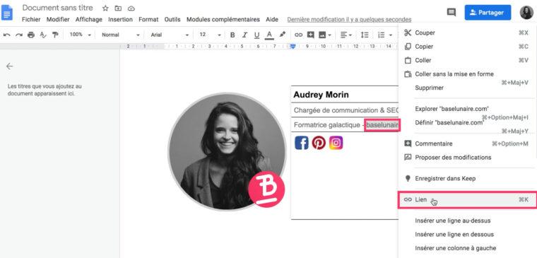 Ajouter un lien sur un texte dans un tableau d'un fichier doc Google Drive