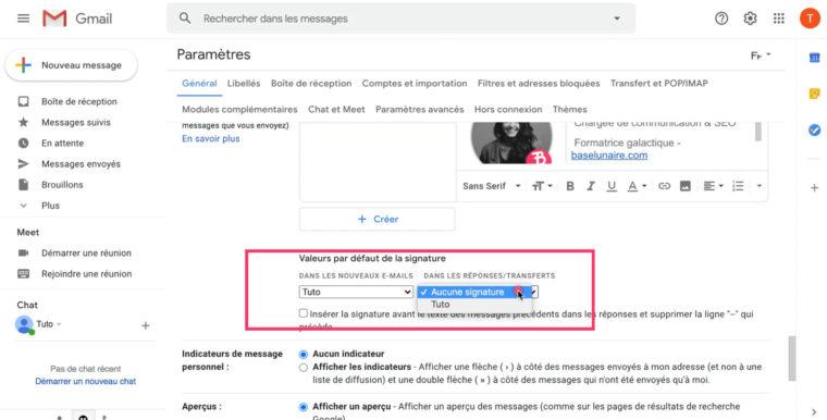 Ajout des valeurs par défaut de la signature dans les Paramètres Gmail
