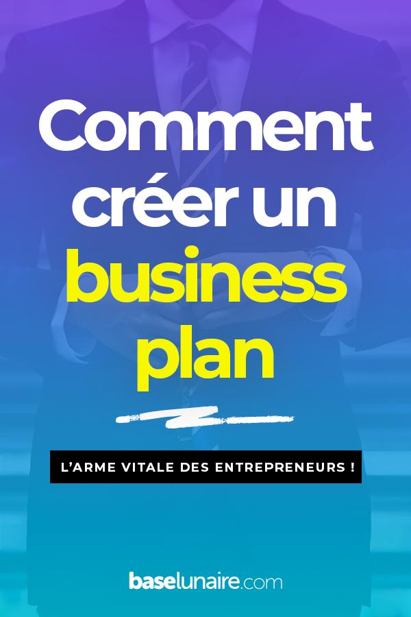 """Affiche avec marqué """"Comment créer un business plan"""""""