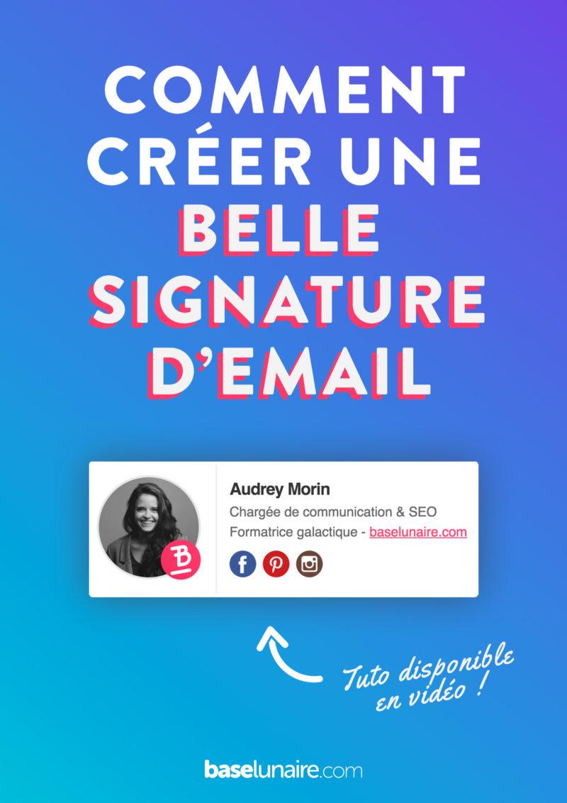 """Couverture Pinterest avec marqué """"Comment créer une belle signature d'email"""""""