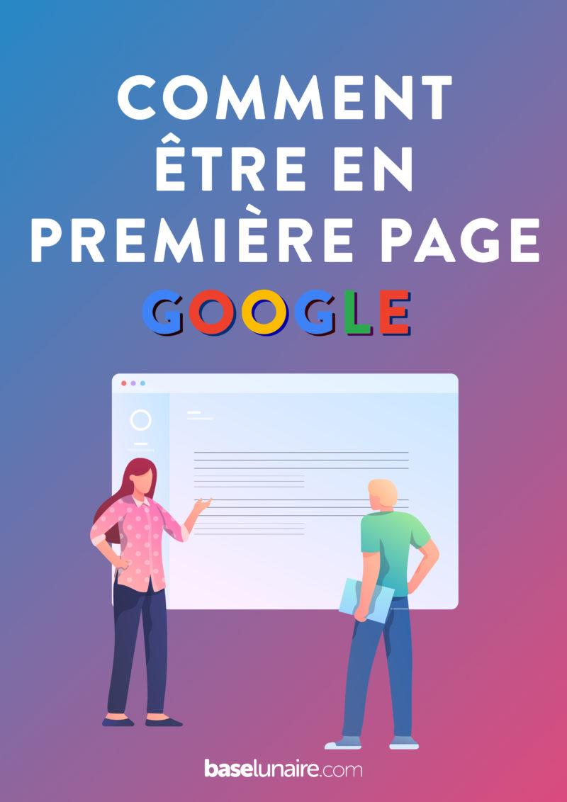 """Cover pour Pinterest avec marqué dessus """"Comment être en première page Google"""""""