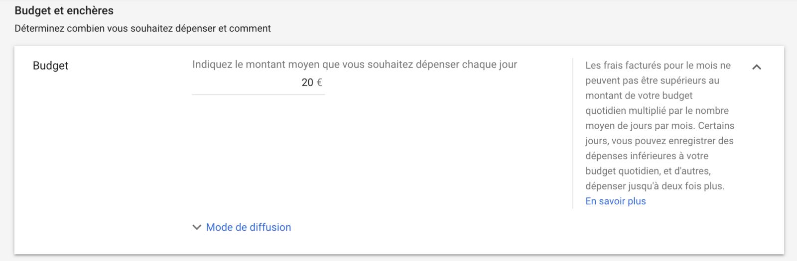 Budget et enchères de Google Adwords