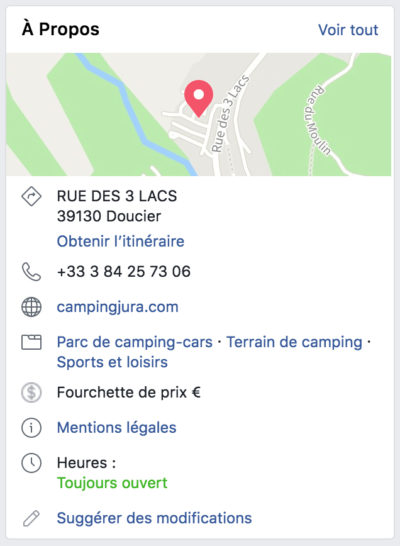 """Capture d'écran des informations disponibles dans la section """"À propos"""" d'une page Facebook"""