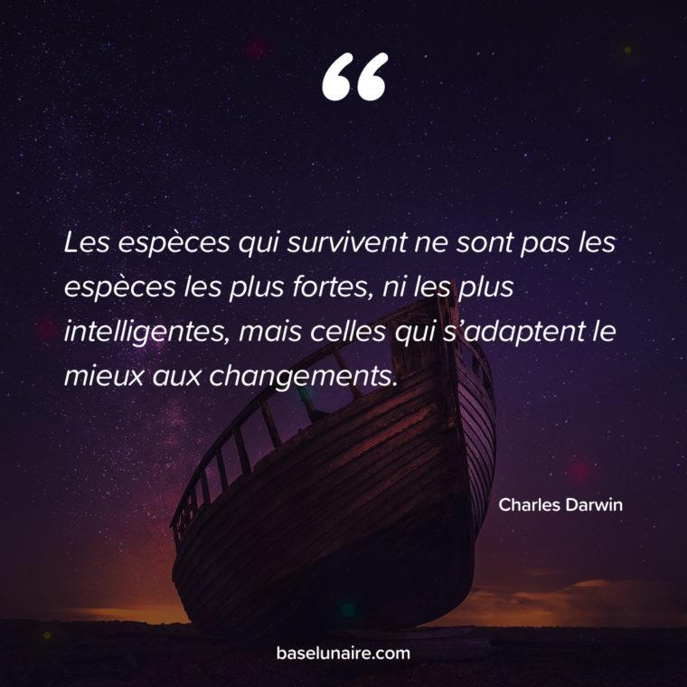 Les espèces qui survivent ne sont pas les espèces les plus fortes, ni les plus intelligentes, mais celles qui s'adaptent le mieux aux changements. Charles Darwin