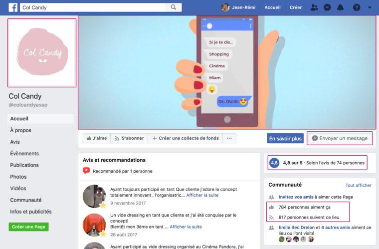 Capture d'écran de la page Facebook de l'Association Col Candy
