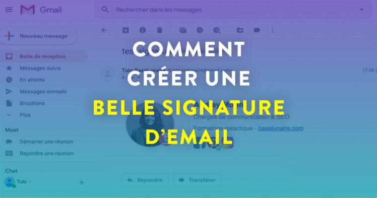 """Cover Facebook avec marqué """"Comment créer une belle signature d'email"""""""