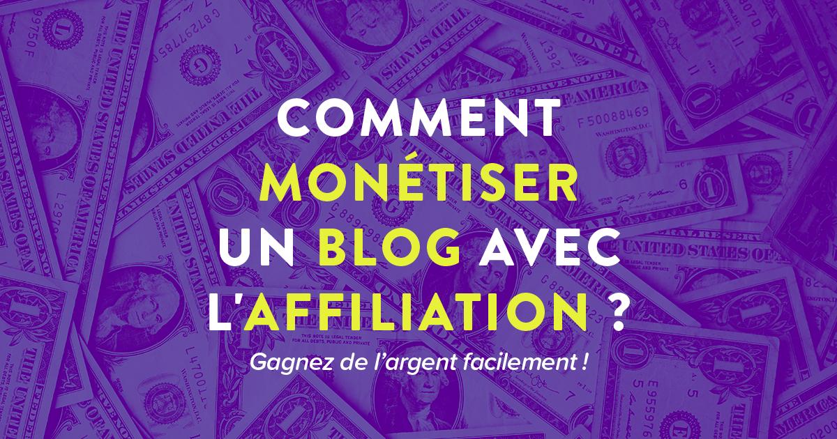"""Cover Facebook avec un texte : """"Comment monétiser un blog avec l'affiliation"""""""
