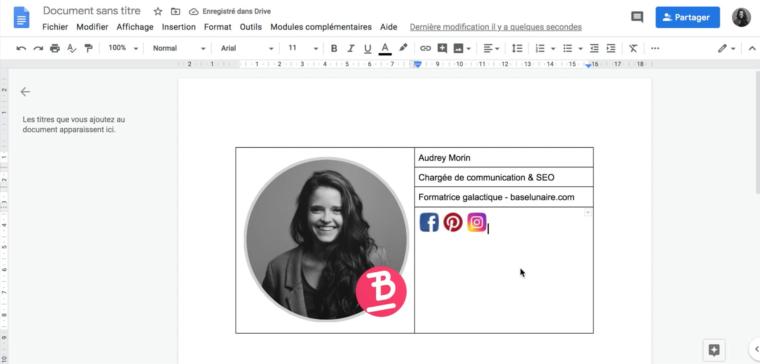 Ajout d'icônes de réseaux sociaux dans un tableau dans un Google Docs