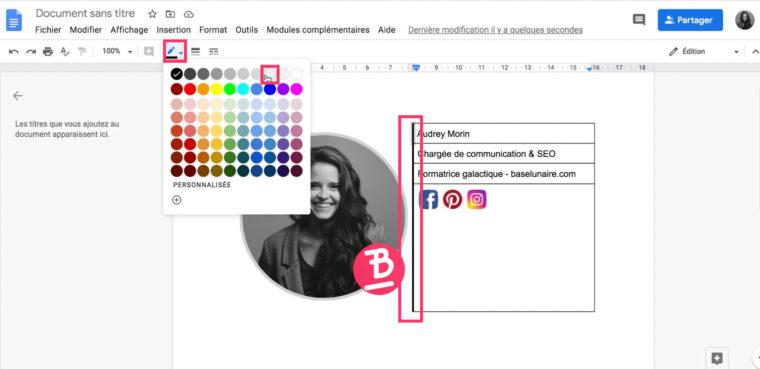 Ajouter une couleur à une bordure d'un tableau d'un fichier doc Google Drive