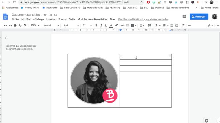 Remplissage d'informations dans un tableau dans un Google Docs