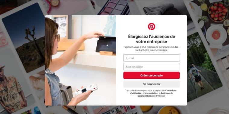 Page pour créer un compte Pinterest pour une entreprise