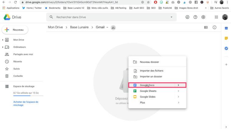 Création d'un Google Docs dans Google Drive