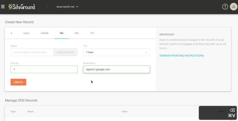 Création de valeur MX dans Siteground