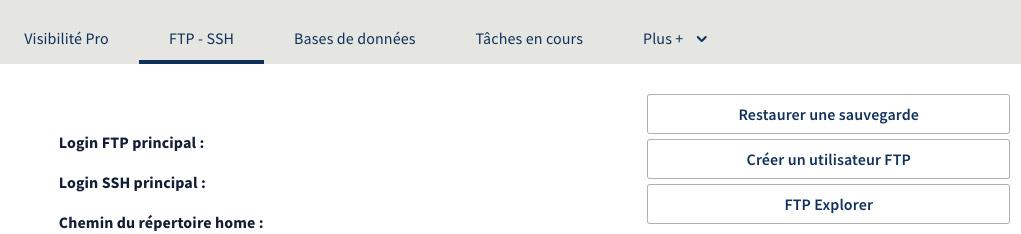 Capture d'écran du menu FTP de chez VOH, qui présente un bouton pour Restaurer une sauvegarde