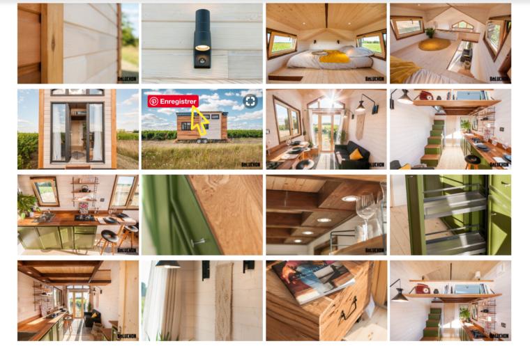 Un bouton enregistrer sur Pinterest apparaît sur une image de Tiny House sur un site web