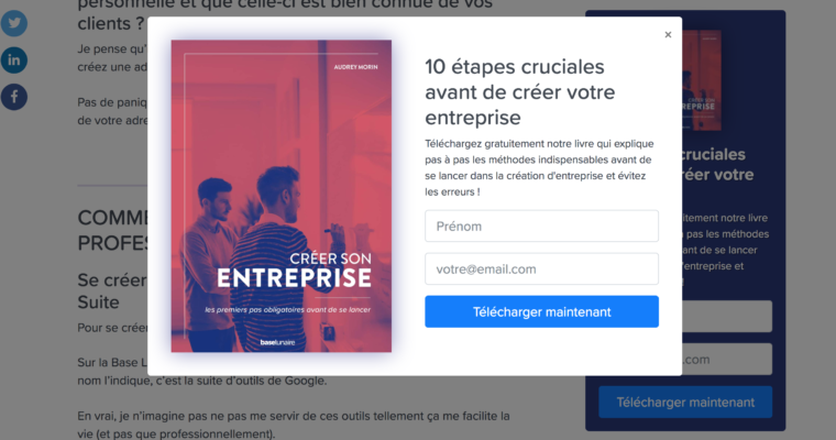 Exemple call to action en pop-up