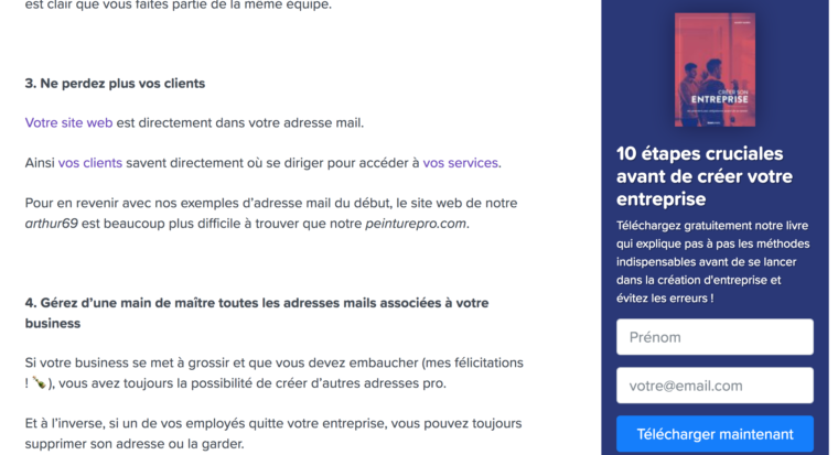 Exemple de call-to-action en sidebar