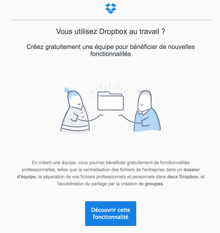 Exemple d'email de Dropbox