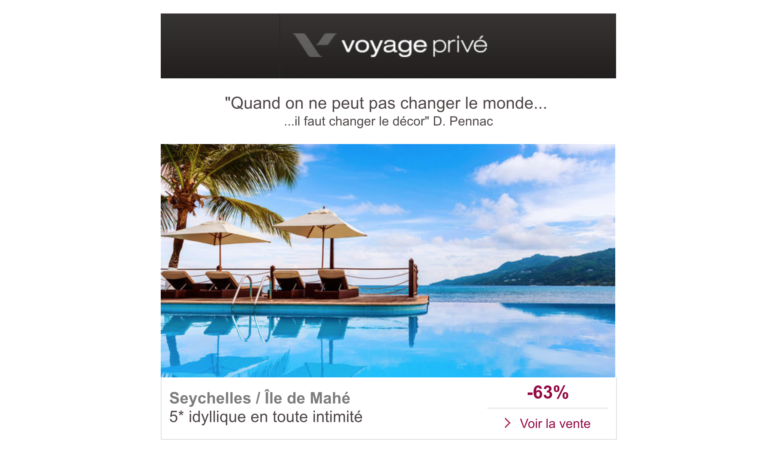 Exemple email voyage privé