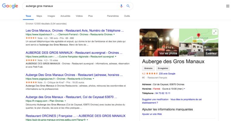 Fiche Google My business de l'auberge des gros manaux