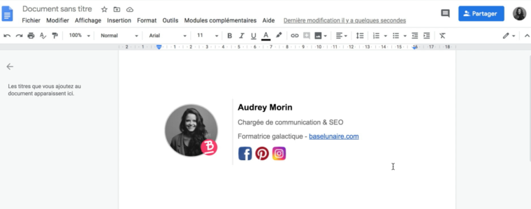 Exemple d'une signature d'email avec images, informations et icônes de réseaux sociaux