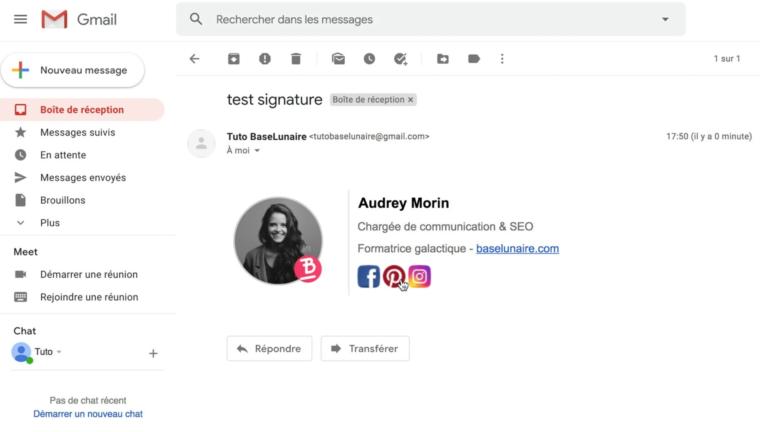 Un mail avec une signature professionnelle