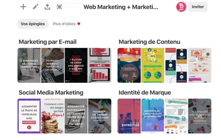 Des sous-tableaux contenus dans un tableau Web Marketing sur Pinterest