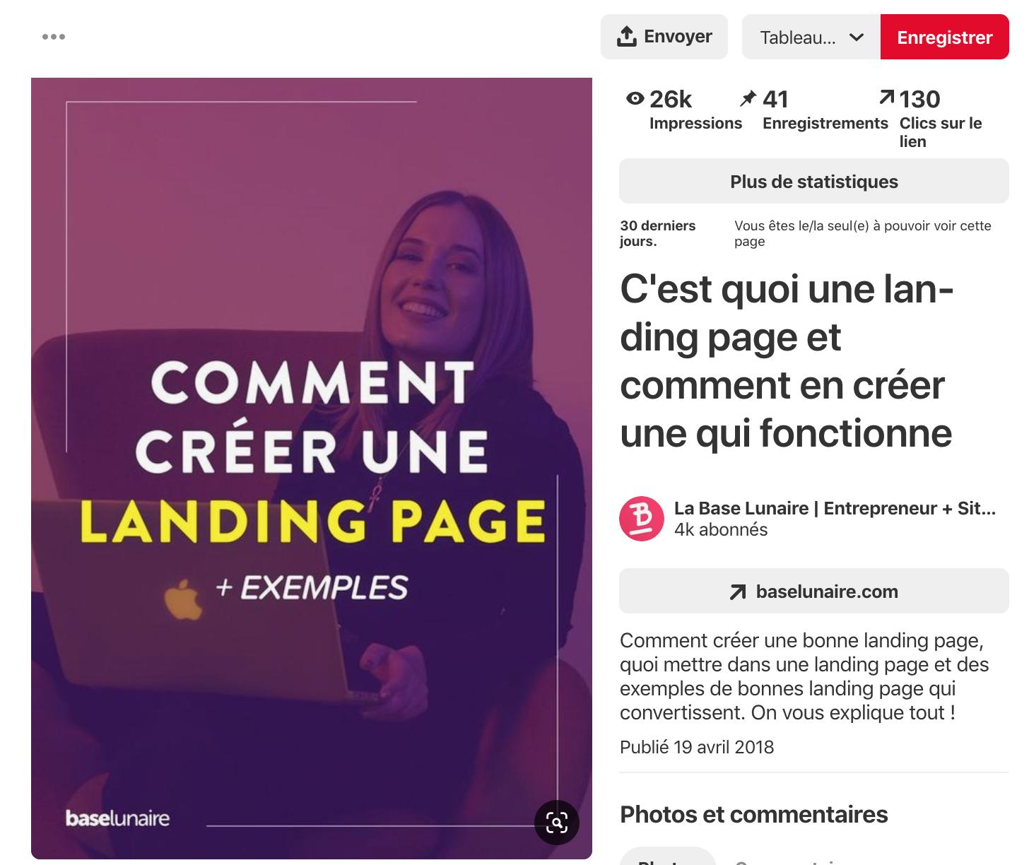 Screenshot d'une épingle Pinterest marquée Comment créer une landing page