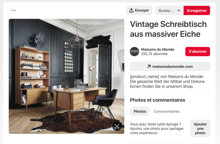 Screenshot d'une épingle Pinterest de Maison du Monde présentant un bureau