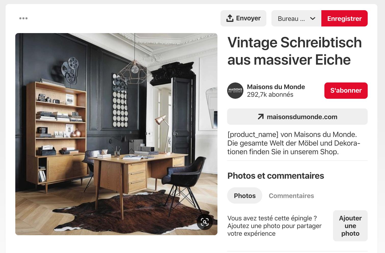 Screenshot d'une épingle Pinterest de Maison du Monde présentant un bureau