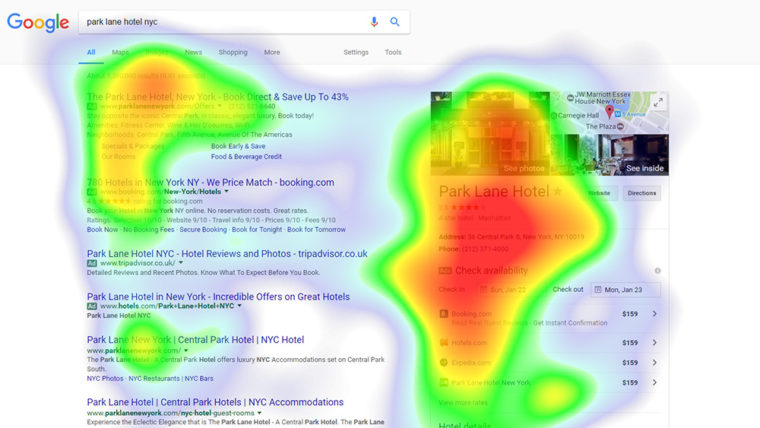 Analyse eye tracking d'une fiche Google My Business