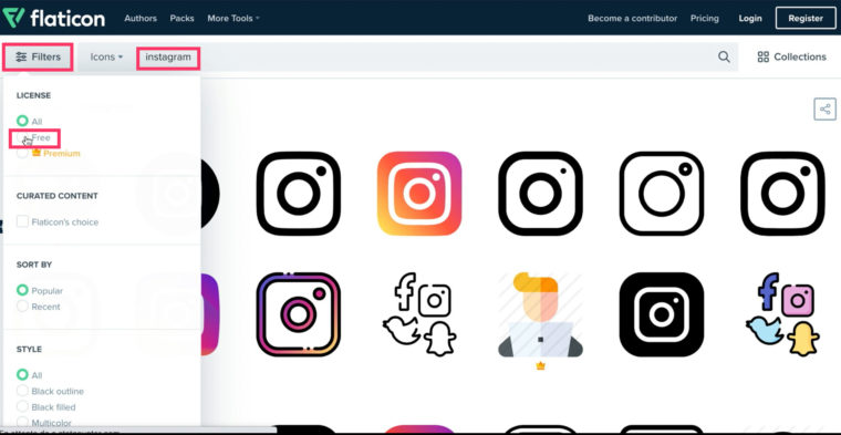 Cocher le filtre free dans le site flaticon.com