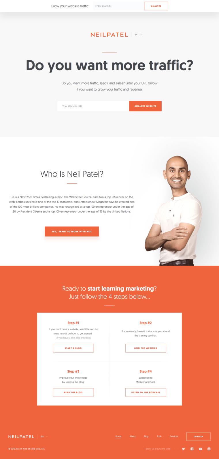 Landing page de Neil Patel