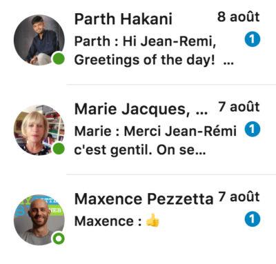 Capture d'écran partielle de la barre latérale gauche des message LinkedIn