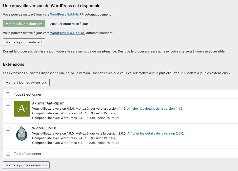 Interface des mises à jour de WordPress dans l'administration. Une mise à jour disponible, ainsi que 2 mises à jour de plugins.