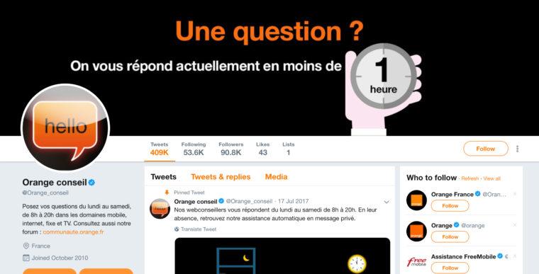 Capture d'écran partielle du compte Twitter @orange_conseil
