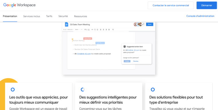 Page d'accueil du site Google WorkSpace