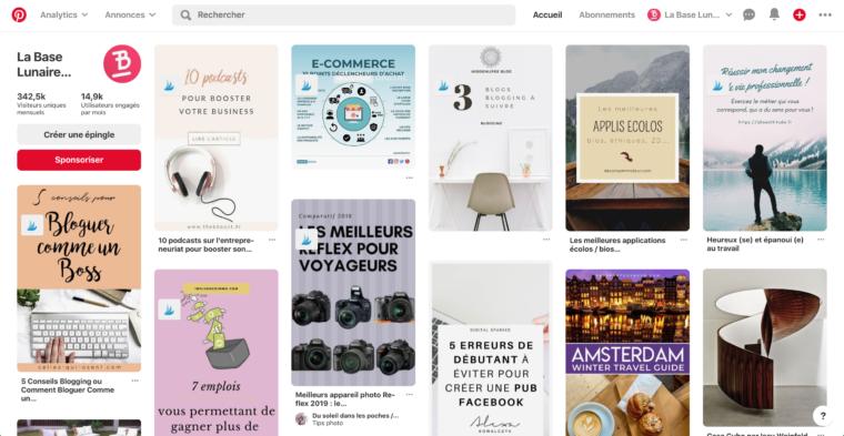 Page d'accueil Pinterest de La Base Lunaire