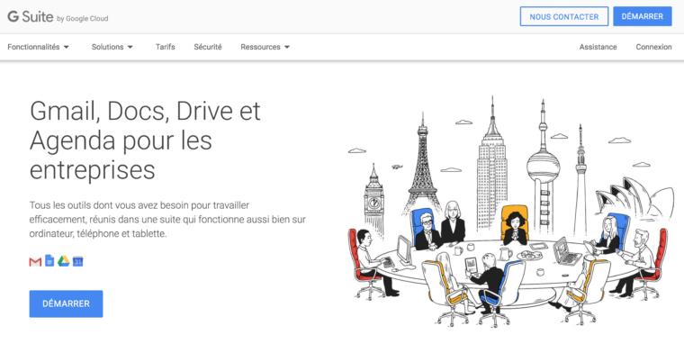 Page d'accueil du site GSuite
