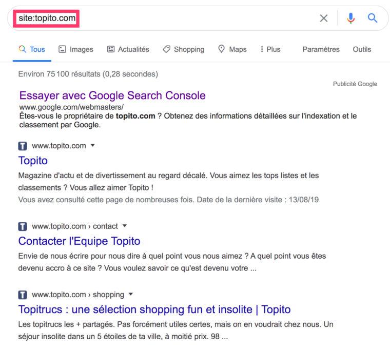Toutes les URLs indexées par Google du site topito.com