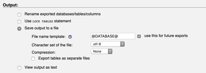 Menu d'exportation d'une base de données SQL sous PHPMyAdmin