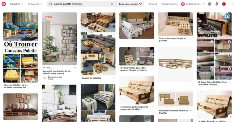 Résultats de recherche Pinterest pour canapé palette extérieur
